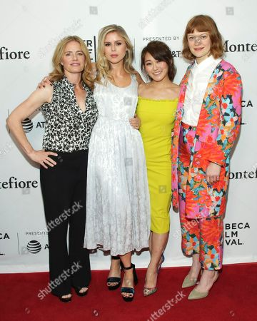 "Elisabeth Shue, Erin Moriarty, Karen Fukuhara, Colby Minifie. Actresses Elisabeth Shue, from left, Erin Moriarty, Karen Fukuhara and Colby Minifie attend a screening of ""Tribeca TV - The Boys"" during the 2019 Tribeca Film Festival at the SVA Theatre, in New York"