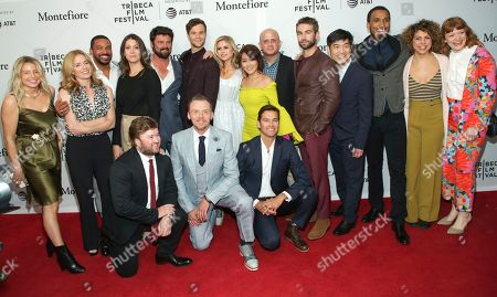 """Guest, Elisabeth Shue, Laz Alonso, guest, Karl Urban, Jack Quaid, Erin Moriarty, Karen Fukuhara, Eric Kripke, Chace Crawford, Albert Cheng, Nathan Mitchell, Jess Salgueiro, Colby Minifie, Haley Joel Osment, Simon Pegg, Antony Starr. Guest, from left/back row, actors Elisabeth Shue, Laz Alonso, guest, Karl Urban, Jack Quaid, Erin Moriarty, Karen Fukuhara, show runner, writer and executive producer Eric Kripke, Chace Crawford, co-head of television and COO, Amazon Studios Albert Cheng, Nathan Mitchell, Jess Salgueiro, Colby Minifie, Haley Joel Osment, Simon Pegg and Antony Starr attend a screening of """"Tribeca TV - The Boys"""" during the 2019 Tribeca Film Festival at the SVA Theatre, in New York"""