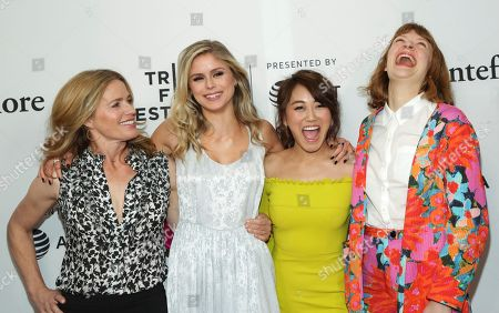 """Elisabeth Shue, Erin Moriarty, Karen Fukuhara, Colby Minifie. Actresses Elisabeth Shue, from left, Erin Moriarty, Karen Fukuhara and Colby Minifie attend a screening of """"Tribeca TV - The Boys"""" during the 2019 Tribeca Film Festival at the SVA Theatre, in New York"""