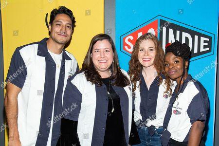 Stock Picture of From left, Carlos Miranda, Rebecca Damon (Executive Vice President of SAG-AFTRA), Haley Finnegan and Marsha Stephanie Blake.