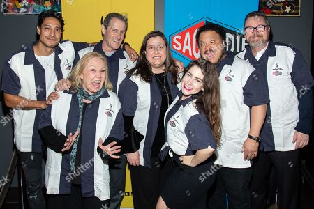 Stock Picture of From left, Carlos Miranda, leslie Shreve, Jack Mulcahy, Rebecca Damon (Executive Vice President of SAG-AFTRA), Sarah Seeds, Adrian Martinez and Kevin Scullin (actor-voice over-announcer).