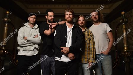Stock Image of Band members of Australian alternative rock band The Rubens Elliott Margin, Sam Margin, Scott Baldwin, Zaac Margin and William Zeglis pose for a photograph at the Melbourne Town Hall, in Melbourne, Victoria, Australia, 30 April 2019. The Rubens will be performing in the upcoming Australasian Performing Right Association (APRA) Music Awards.