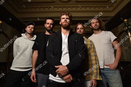 Stock Picture of Band members of Australian alternative rock band The Rubens Elliott Margin, Sam Margin, Scott Baldwin, Zaac Margin and William Zeglis pose for a photograph at the Melbourne Town Hall, in Melbourne, Victoria, Australia, 30 April 2019. The Rubens will be performing in the upcoming Australasian Performing Right Association (APRA) Music Awards.