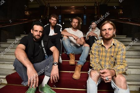 Band members of Australian alternative rock band The Rubens Sam Margin, Scott Baldwin, William Zeglis, Elliott Margin and Zaac Margin and pose for a photograph at the Melbourne Town Hall, in Melbourne, Victoria, Australia, 30 April 2019. The Rubens will be performing in the upcoming Australasian Performing Right Association (APRA) Music Awards.