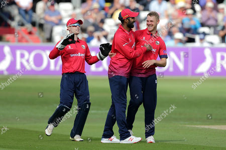 Jamie Porter of Essex celebrates with his team mates after taking the wicket of Luke Wright during Essex Eagles vs Sussex Sharks, Royal London One-Day Cup Cricket at The Cloudfm County Ground on 30th April 2019