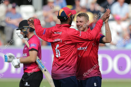 Stock Photo of Jamie Porter of Essex celebrates taking the wicket of Luke Wright during Essex Eagles vs Sussex Sharks, Royal London One-Day Cup Cricket at The Cloudfm County Ground on 30th April 2019