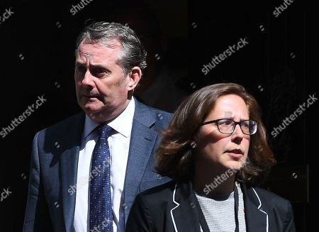 British Secretary of State for International Trade and President of the Board of Trade Liam Fox (L) with Leader of the House of Lords, Lord Privy Seal Baroness Evans (R) following a Cabinet meeting in central London, Britain, 30 April 2019.