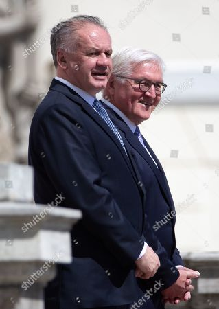 German President Frank-Walter Steinmeier (R) accompanies visiting President of the Slovak Republic, Andrej Kiska (L) during an official welcoming ceremony outside the Bellevue Palace residence of the German president, in Berlin, Germany, 30 April 2019.