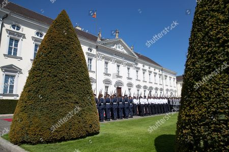 Guards stand during an official welcoming ceremony outside the Bellevue Palace residence of the German president, in Berlin, Germany, 30 April 2019. The President of the Slovak Republic Andrej Kiska visits the German capital.