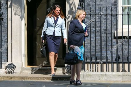 Karen Bradley - Secretary of State for Northern Ireland (R) and Caroline Nokes - Minister of State for Immigration (L) departs from No 10 Downing Street after attending the weekly Cabinet meeting.