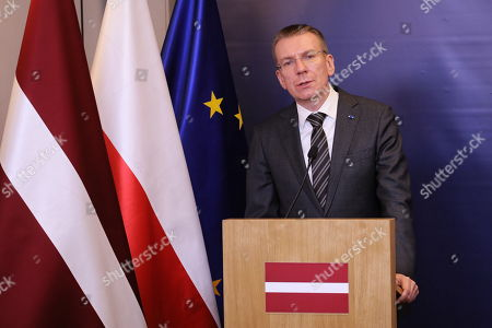 Latvian Foreign Minister Edgars Rinkevics attends a press conference after their meeting in Warsaw, Poland, 30 April 2019.