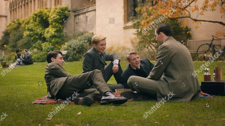 Anthony Boyle as G.B. Smith, Tom Glynn-Carney as Christopher Wiseman, Patrick Gibson as R.Q. Gilson and Nicholas Hoult as J.R.R. Tolkien