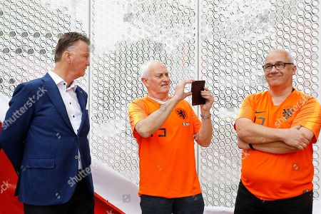 Stock Picture of Former Dutch head coach Louis van Gaal (L) attends the unveiling of the Oranje Wall of Fame at the Dutch soccer federation Koninklijke Nederlandse Voetbalbond (KNVB) Campus in Zeist, Netherlands, 30 April 2019. The KNVB honours players who have finished their international career with a spot on the photo wall.