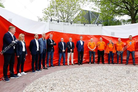 Stock Photo of Dutch national soccer team head coach Ronald Koeman (L) and former Dutch head coach Louis van Gaal (L) attend the unveiling of the Oranje Wall of Fame at the Dutch soccer federation Koninklijke Nederlandse Voetbalbond (KNVB) Campus in Zeist, Netherlands, 30 April 2019. The KNVB honours players who have finished their international career with a spot on the photo wall.