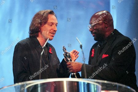 M People's Mike Pickering and Curtis Mayfield attend The BRIT Awards 1995
