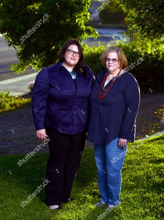 """Jennifer """"Jenn"""" Carson, left, 40, and Lynne Carson Gonzales, 66, daughter and former wife of serial killer Michael Bear Carson, in Moreno Valley, Calif. Both are fighting the release of Carson and his current wife Suzan Carson the so-called San Francisco Witch Killers who are now eligible for parole."""
