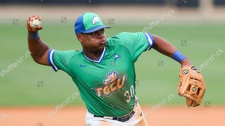 Stock Photo of Jay Hayes (30) makes a throw during a Florida Gulf Coast at Kennesaw State baseball game, in Kennesaw, Ga