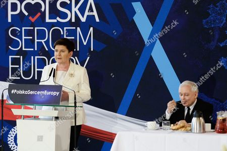 Deputy Prime Minister of Poland, Beata Szydlo is seen giving a speech during a campaign ahead of the European Elections.  European parliamentary elections are scheduled to take place between May 23 and 26.
