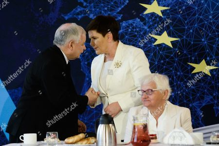 The current Leader of Law and Justice Party, Jaroslaw Kaczynski and Deputy Prime Minister of Poland, Beata Szydlo are seen shaking hands during a campaign event ahead of the European Elections.European parliamentary elections are scheduled to take place between May 23 and 26.