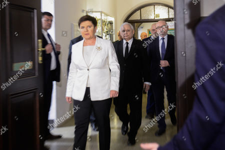 The current Leader of Law and Justice Party, Jaroslaw Kaczynski and Deputy Prime Minister of Poland, Beata Szydlo are seen arriving at the campaign event ahead of the European Elections.  European parliamentary elections are scheduled to take place between May 23 and 26.