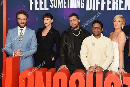 Anton Koval, Seth Rogen, Charlize Theron, O'Shea Jackson Jr., Ravi Patel, and June Diane Raphael
