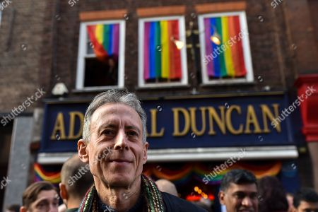 Peter Tatchell attends the vigil outside the Admiral Duncan.