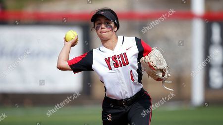 Stock Photo of Youngstown State's Alex DeLeon throws against Wright State during an NCAA softball game on in Youngstown, Ohio
