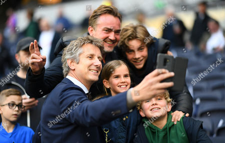 Ajax Chief Executive Officer Edwin Van Der Sar poses for a selfie with fans before kick off