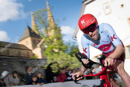 Alex Dowsett from Great Britain of team Katusha-Alpecin rides his bike during the prologue, a 3,87 km race against the clock at the 73th Tour de Romandie UCI ProTour cycling race in Neuchatel, Switzerland, Tuesday, April 30, 2019.