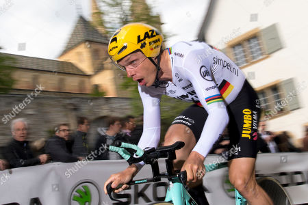 Tony Martin from Germany of team Jumbo-Visma rides his bike during the prologue, a 3,87 km race against the clock at the 73th Tour de Romandie UCI ProTour cycling race in Neuchatel, Switzerland, Tuesday, April 30, 2019.