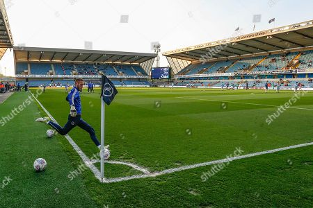 Millwall goalkeeper Ben Amos (13) warming up before the EFL Sky Bet Championship match between Millwall and Bristol City at The Den, London