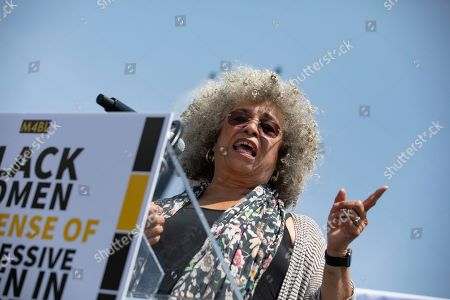 Activist Angela Davis speaks during a press event in front of the United States Capitol in Washington, D.C.. Several members of Congress attended the event and spoke out against recent tweets by President Trump that attacked Rep. Ilhan Omar.