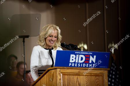 Jill Biden, Joe Biden's wife, seen speaking on podium