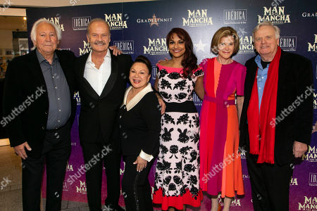 Michael Linnet (Producer), Kelsey Grammer (Miguel de Cervantes/Don Quixote), Martha Wasserman, Danielle De Niese (Aldonza/Dulcinea), Abby Leigh and Michael Grade (Producer)