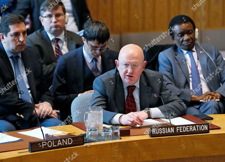 Stock Image of Russia's UN Ambassador Vassily Nebenzia, second from right, speaks during a Security Council meeting on the situation in the Middle East at the United Nations, in New York