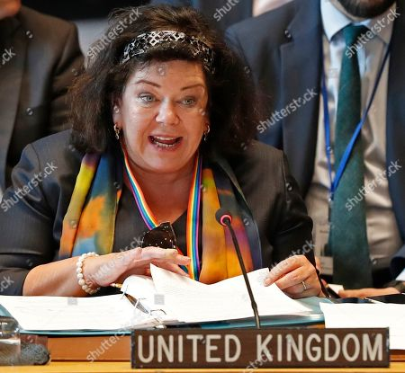 Great Britain's UN Ambassador Karen Pierce speaks during a Security Council meeting on Syria at the United Nations, at UN headquarters in New York