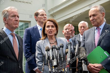 Speaker of the United States House of Representatives Nancy Pelosi (Democrat of California) makes a statement as she and Democratic members of the United States House and Senate speak to reporters Pictured from left to right: US Representative Richard Neal (Democrat of Massachusetts), US Senator Ron Wyden (Democrat of Oregon), Speaker Pelosi, US Representative Peter DeFazio (Democrat of Oregon), US House Majority Leader Steny Hoyer (Democrat of Maryland), and US Senate Minority Leader Chuck Schumer (Democrat of New York).
