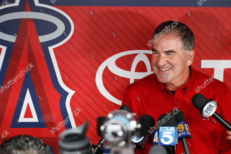 Tim Mead, the Los Angeles Angels' vice president of communications, talks to the media during a news conference in Anaheim, Calif., . Mead was named president of the National Baseball Hall of Fame