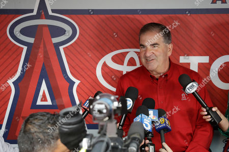 Tim Mead, the Los Angeles Angels' vice president of communications, talks to reporters during a news conference in Anaheim, Calif., . Mead was named president of the National Baseball Hall of Fame