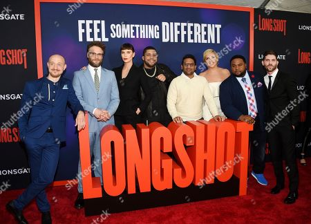 "Anton Koval, Seth Rogen, Charlize Theron, O'Shea Jackson Jr, Ravi Patel, June Diane Raphael, Tristan D. Lalla, Jonathan Levine. Actors Anton Koval, left, Seth Rogen, Charlize Theron, O'Shea Jackson Jr, Ravi Patel, June Diane Raphael, Tristan D. Lalla and director Jonathan Levine pose together at the premiere of ""Long Shot"" at AMC Loews Lincoln Square, in New York"