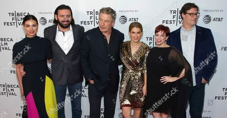 "Morena Baccarin, Tamir Ardon, Alec Baldwin, Hilaria Baldwin, Sheena M. Joyce, Don Argott. Actress Morena Baccarin, from left, producer Tamir Ardon, actor Alec Baldwin, Hilaria Baldwin, directors Sheena M. Joyce and Don Argott attend the screening for ""Framing John DeLorean"" during the 2019 Tribeca Film Festival at the SVA Theatre, in New York"