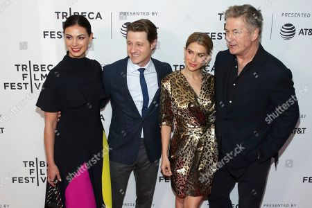 "Morena Baccarin, Benjamin McKenzie, Hilaria Baldwin, Alec Baldwin. Actors Morena Baccarin, from left, husband Benjamin McKenzie, Hilaria Baldwin and Alec Baldwin attend the screening for ""Framing John DeLorean"" during the 2019 Tribeca Film Festival at the SVA Theatre, in New York"