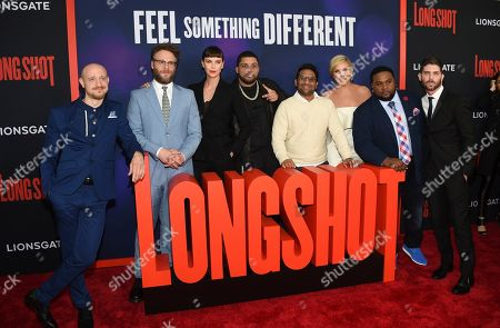 "Stock Photo of Anton Koval, Seth Rogen, Charlize Theron, O'Shea Jackson Jr, Ravi Patel, June Diane Raphael, Tristan D. Lalla, Jonathan Levine. Actors Anton Koval, left, Seth Rogen, Charlize Theron, O'Shea Jackson Jr, Ravi Patel, June Diane Raphael, Tristan D. Lalla and director Jonathan Levine pose together at the premiere of ""Long Shot"" at AMC Loews Lincoln Square, in New York"