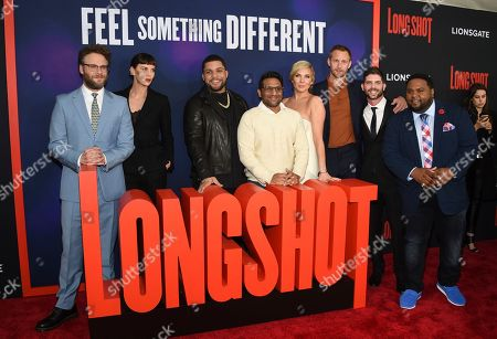 "Stock Photo of Anton Koval, Seth Rogen, Charlize Theron, O'Shea Jackson Jr, Ravi Patel, June Diane Raphael, Alexander Skarsgard, Jonathan Levine, Tristan D. Lalla. Actors Anton Koval, left, Seth Rogen, Charlize Theron, O'Shea Jackson Jr, Ravi Patel, June Diane Raphael, Alexander Skarsgard, director Jonathan Levine and actor Tristan D. Lalla pose together at the premiere of ""Long Shot"" at AMC Loews Lincoln Square, in New York"