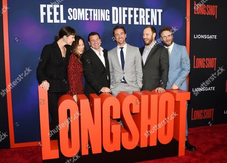 "Charlize Theron, Beth Kono, A.J. Dix, James Weaver, Evan Goldberg, Seth Rogen. Producers Charlize Theron, left, Beth Kono, A.J. Dix, James Weaver, Evan Goldberg, Seth Rogen attends the premiere of ""Long Shot"" at AMC Loews Lincoln Square, in New York"