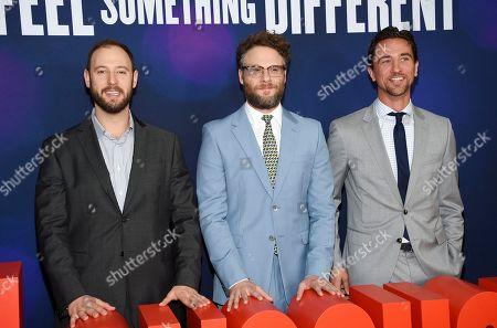 "Evan Goldberg, Seth Rogen, James Weaver. Producers Evan Goldberg, left, Seth Rogen and James Weaver pose together at the premiere of ""Long Shot"" at AMC Loews Lincoln Square, in New York"