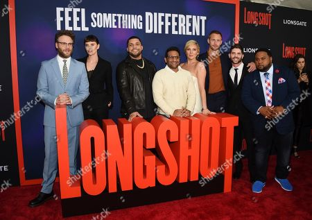 "Anton Koval, Seth Rogen, Charlize Theron, O'Shea Jackson Jr, Ravi Patel, June Diane Raphael, Alexander Skarsgard, Jonathan Levine, Tristan D. Lalla. Actors Anton Koval, left, Seth Rogen, Charlize Theron, O'Shea Jackson Jr, Ravi Patel, June Diane Raphael, Alexander Skarsgard, director Jonathan Levine and actor Tristan D. Lalla pose together at the premiere of ""Long Shot"" at AMC Loews Lincoln Square, in New York"