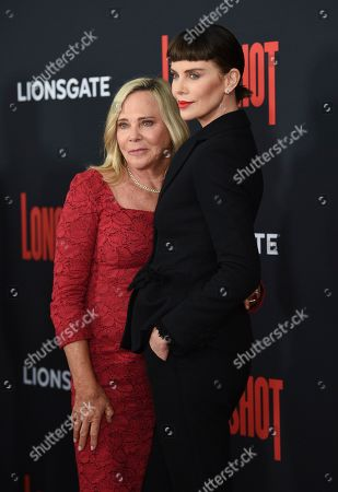 """Gerda Theron, Charlize Theron. Actress Charlize Theron, right, poses with her mother Gerda Theron at the premiere of """"Long Shot"""" at AMC Loews Lincoln Square, in New York"""