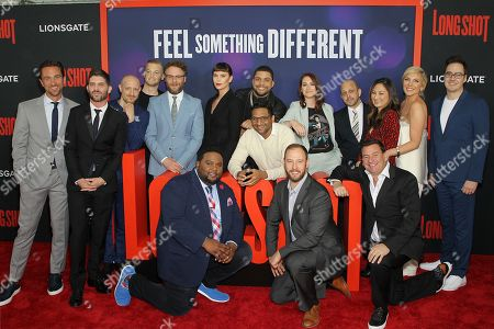 Stock Image of Producer James Weaver, Director Jonathan Levine, Anton Koval, Executive Producer John Powers Middleton, Seth Rogen, Tristan D. Lalla, Charlize Theron, Ravi Patel, O?Shea Jackson Jr., Producer Evan Goldberg, Screenwriter Liz Hannah, Screenwriter Dan Sterling, Producer AJ Dix, Producer Beth Kono, June Diane Raphael, Composer Miles Hankins