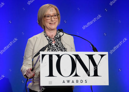 Heather Hitchens participates in the 73rd annual Tony Awards nominations announcement at the New York Public Library for the Performing Arts at Lincoln Center, in New York